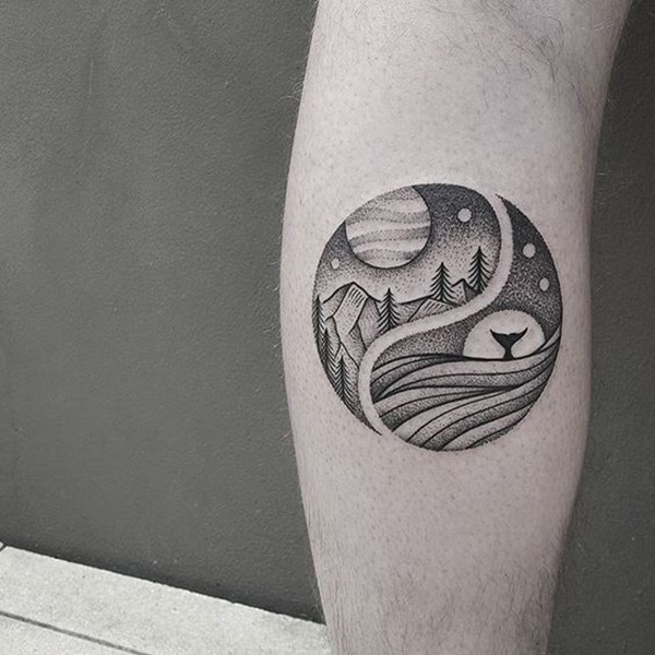 dot work tattoo of a whale, mountain and forest