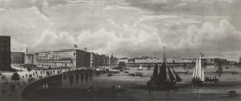Der alte und der neue Jungfernstieg vom Alsterdamm (heute Ballindamm) aus gesehen, Bebauung nach dem Großen Brand von 1842