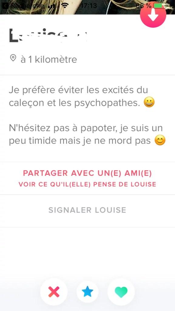 une description Tinder avec une phrase expliquant qu'elle ne veut pas d'un psycopathe...