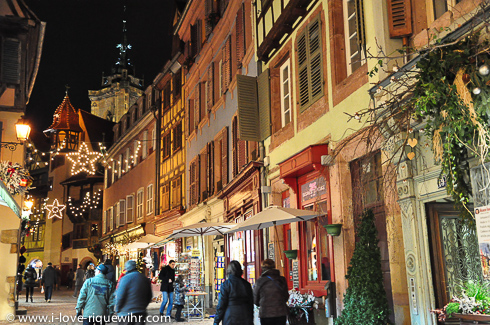 Shopping in the historical center of Colmar, Alsace, in December