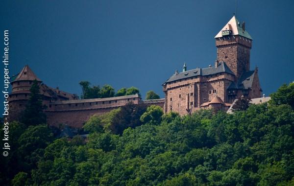 La silhouette du Haut-Koenigsbourg vue des vignes de St-Hippolyte.