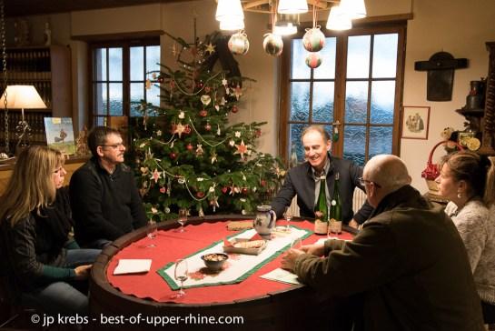 Dégustation commentée de vins d'Alsace au domaine Huber Bleger à Saint-Hippolyte, Alsace