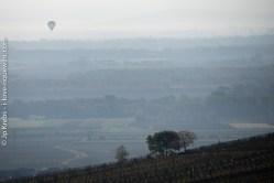 Une montgolfière glisse sur la plaine d'Alsace.