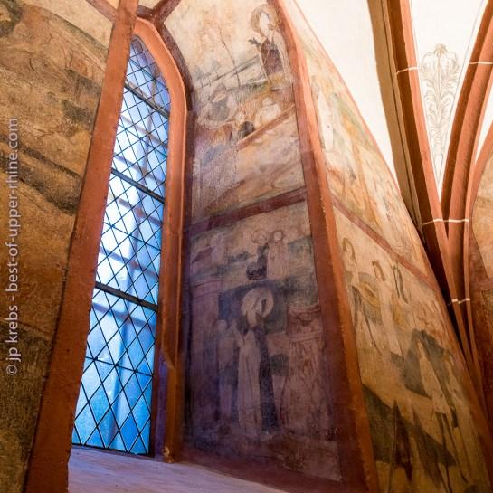 Hunawihr fresques du XVe siècle. Les interventions de Saint Nicolas de son vivant en faveur de la justice.