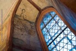 Hunawihr fresques du XVe siècle. Saint Nicolas porte secours à un navire perdu dans la tempête.