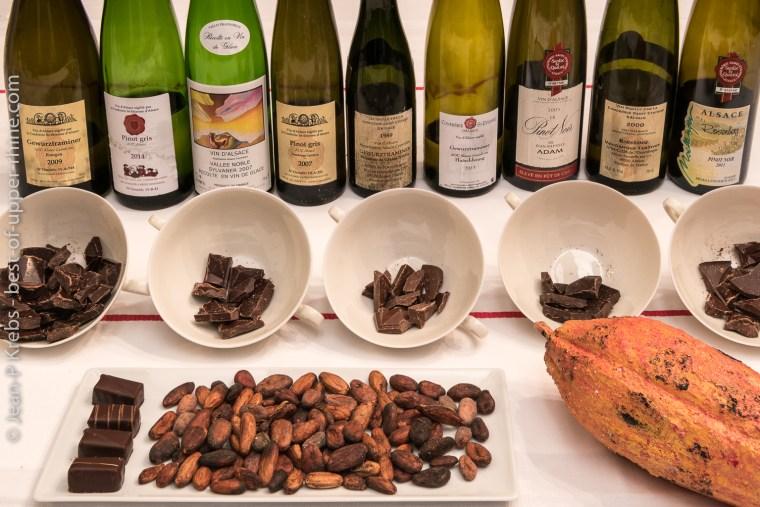 Exemple d'atelier à la Confrérie Saint-Etienne: associer les vins d'Alsace au chocolat.