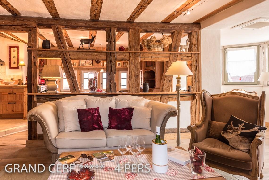 Grand Cerf à riquewihr - appartement 5 étoiles vue sur les collombages de l'espace de vie