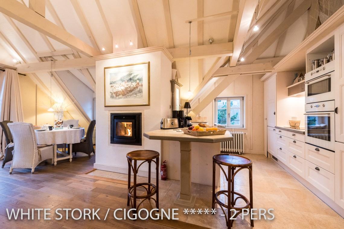 La Cigogne à riquewihr - appartement 5 étoiles vue sur le salonet la cuisine