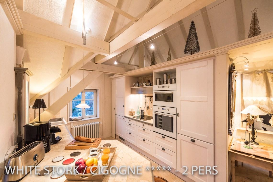 La Cigogne à riquewihr - appartement 5 étoiles vue sur la cuisine