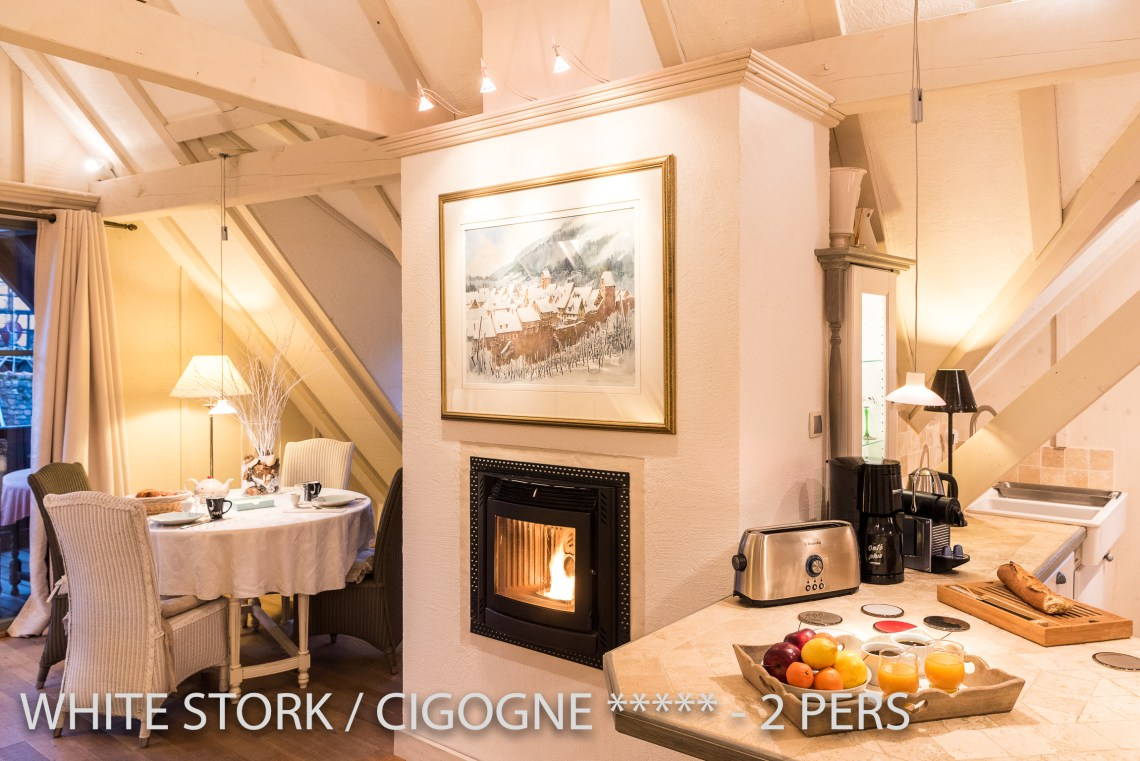 La Cigogne à riquewihr - appartement 5 étoiles le salon et la cheminée