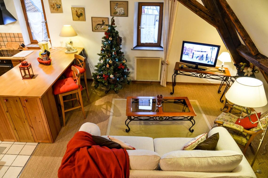 Le Klevner à riquewihr - appartement en duplex la cuisine et le salon