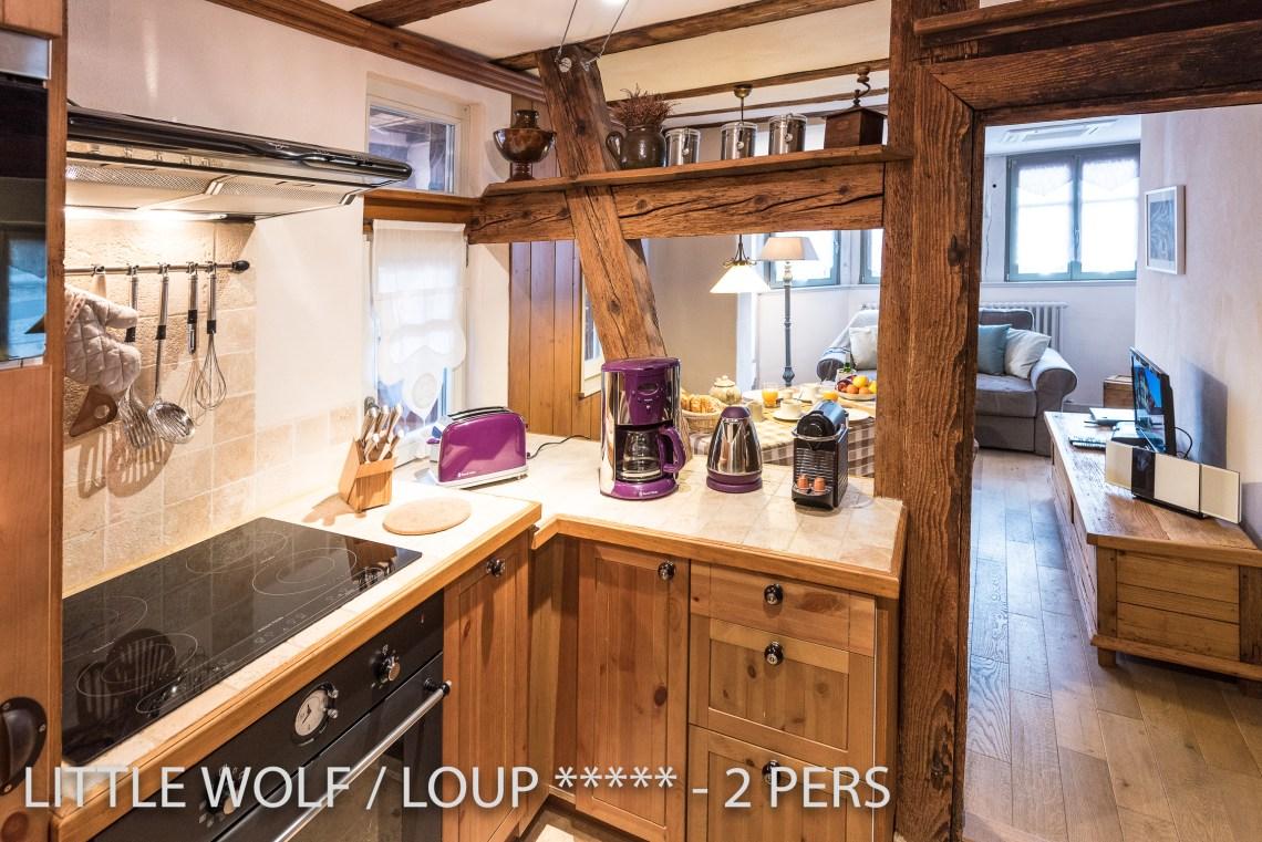 Le loup à riquewihr - appartement 5 étoiles la cuisine