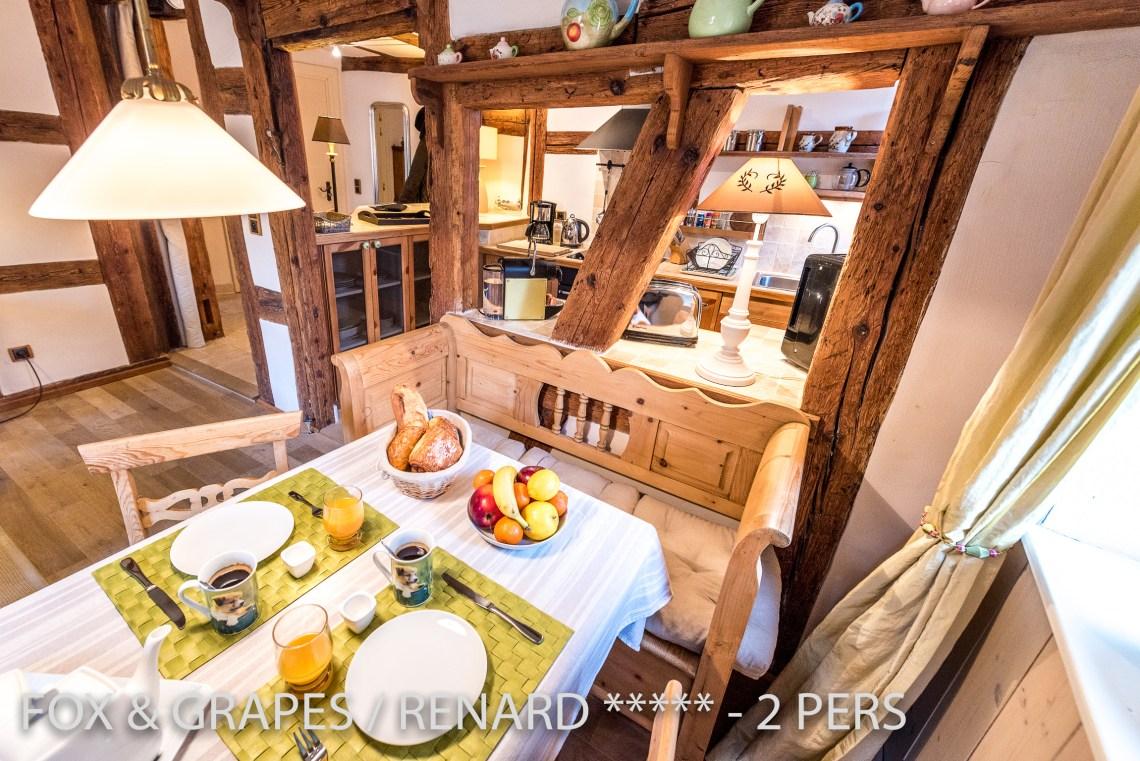 Le Renard et les Raisins à riquewihr - appartement 5 étoiles vue sur l'espace repas