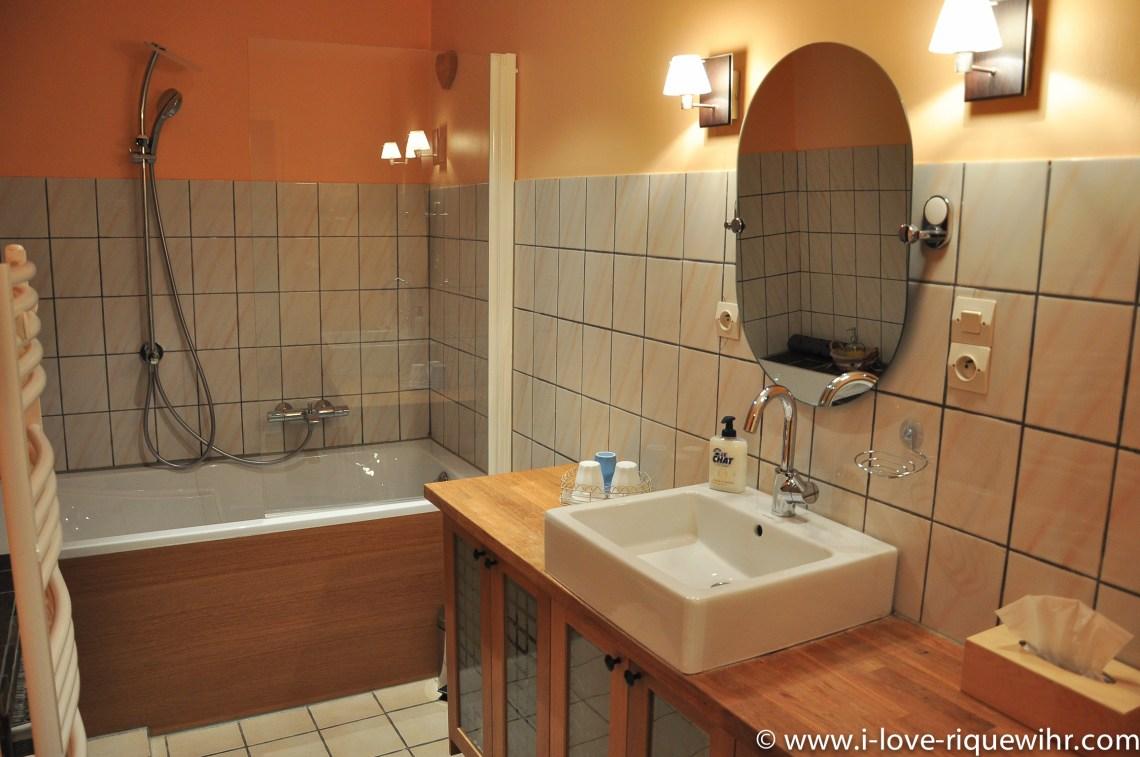 Le Riesling à riquewihr - appartement 5 étoiles vue sur la salle de bain