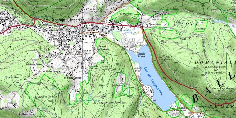 Environs du lac de Longemer. Extrait carte IGN.