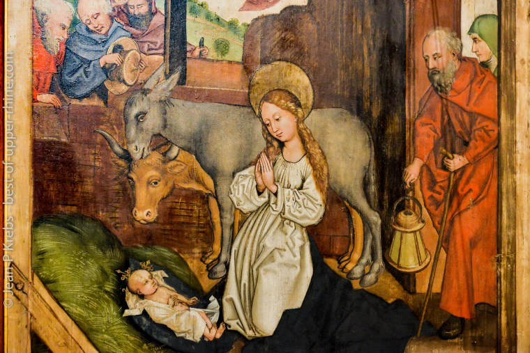 Nativité de Notre Seigneur Jésus. Retable des Dominicains de Colmar, Martin Schongauer