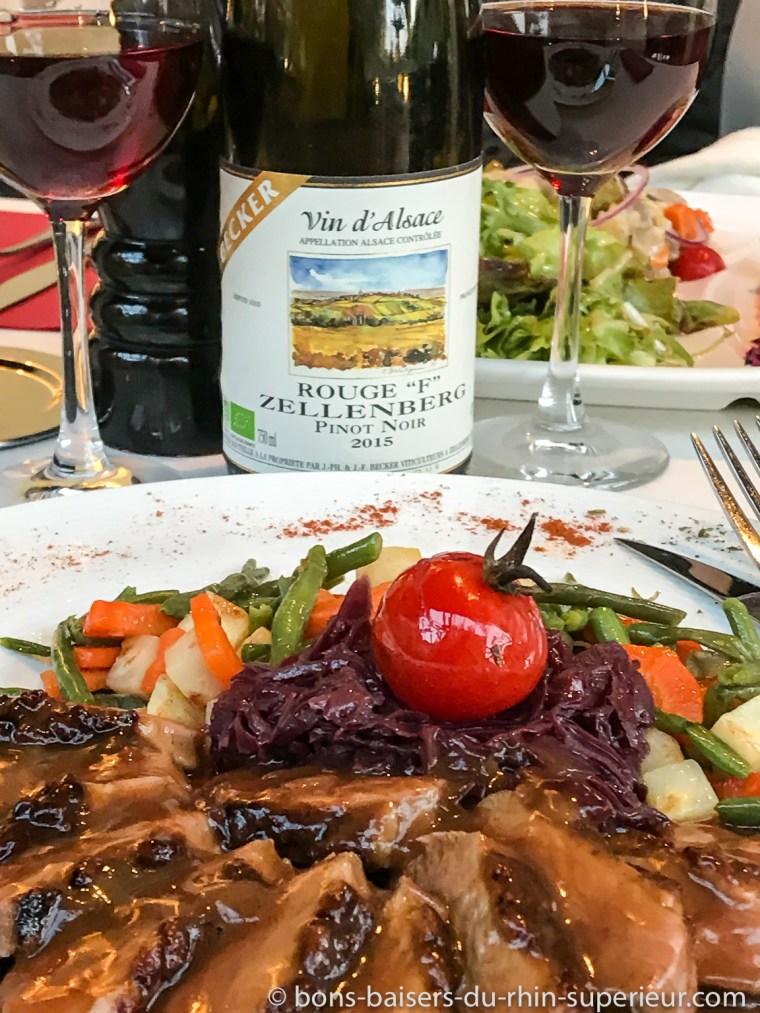 Ste-Marie-aux-Mines, restaurant Les Bagenelles, magret de canard