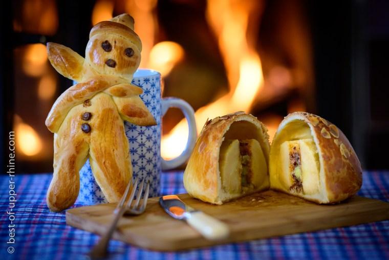Mannala et pomme de Noël réalisés à la Maison du Pain d'Alsace à Sélestat