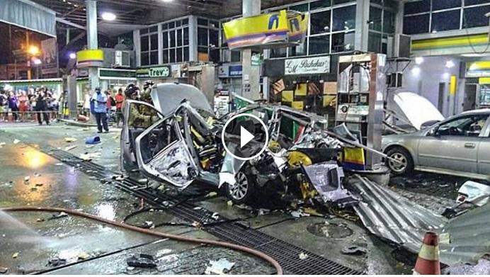 Mobil BBG Meledak Hancur Berkeping-keping di SPBU
