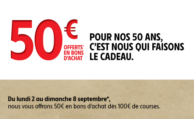 50€ de bons d'achats offert chez Intermarché