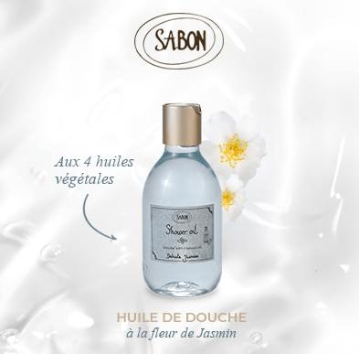 Test huile de douche à la fleur de Jasmin de Sabon
