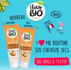 Test duo soinsSOS Cheveux Secs de I Love bio by Léa Nature