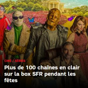 Pour les fêtes de fin d'année, SFR propose 100 chaînes TV en clair