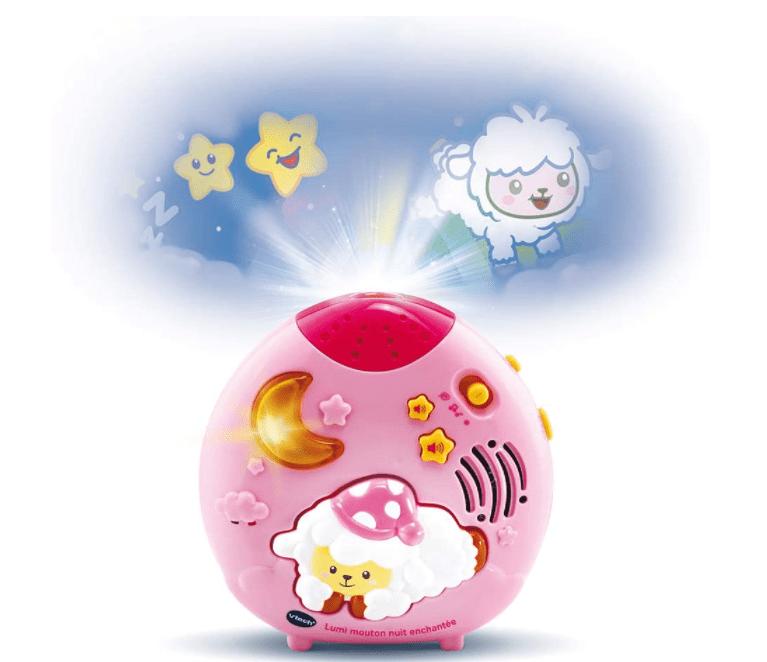 VTech - Lumi Mouton Nuit Enchantée Rose, Veilleuse Bébé - Version FR