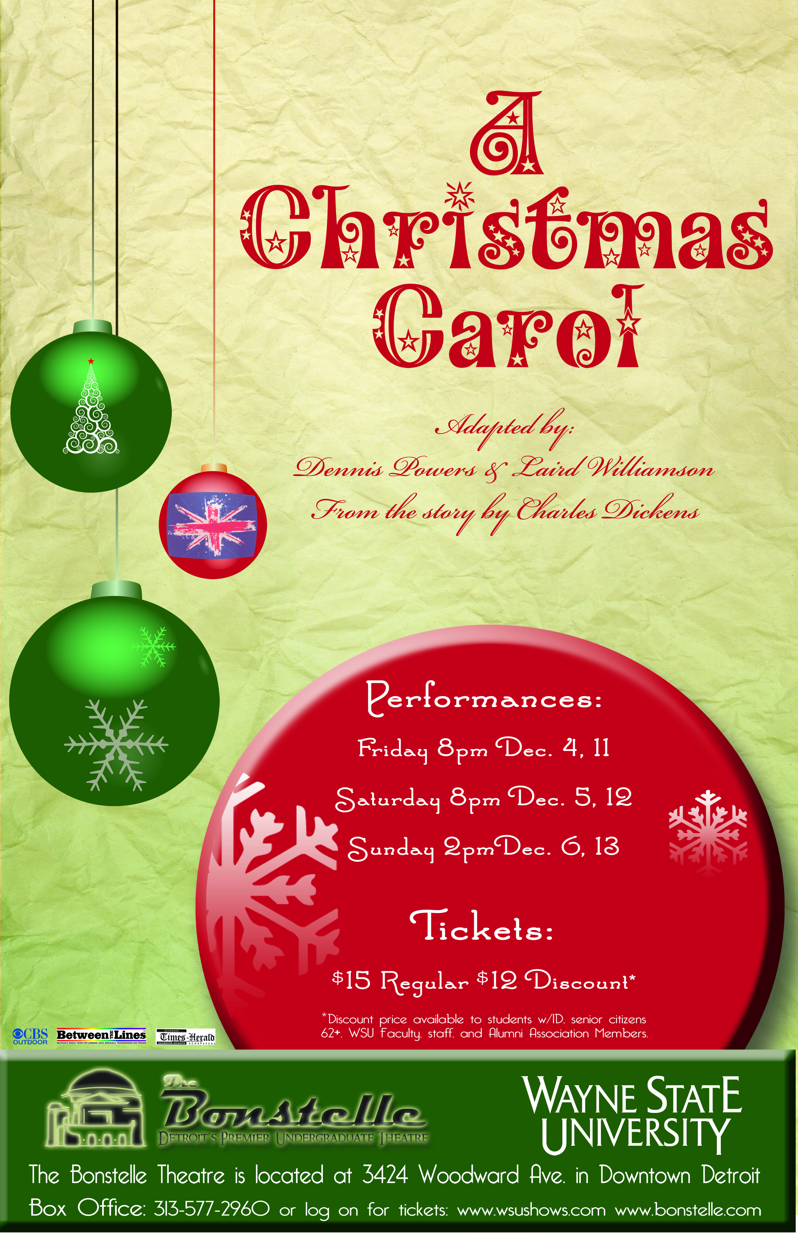 A Christmas Carol The WSU Bonstelle And Studio Theatres