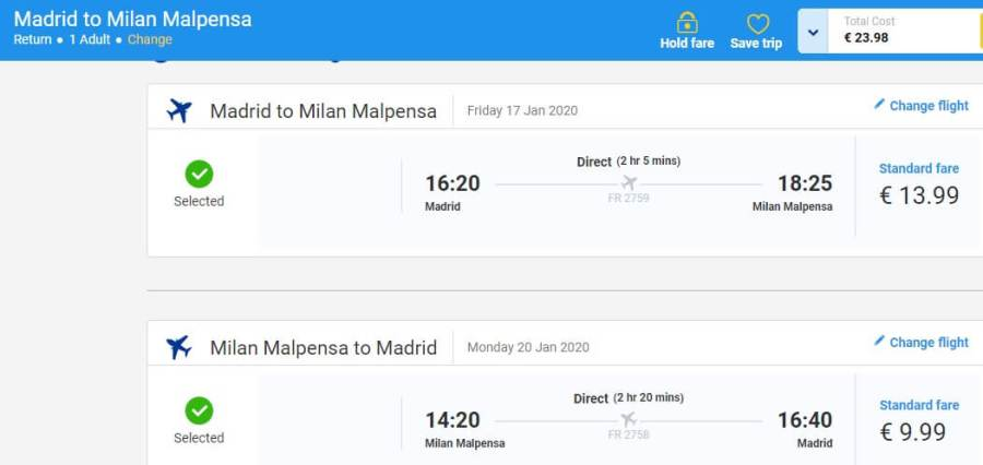 Screenshot madrid milan ticket