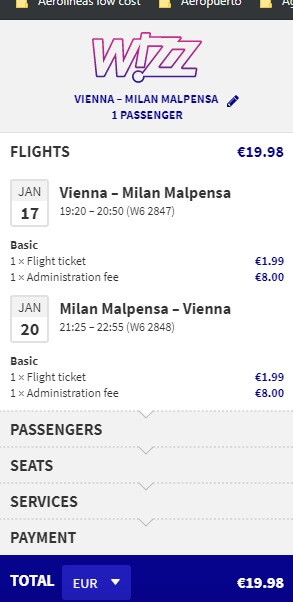 Screenshot vienna milan ticket
