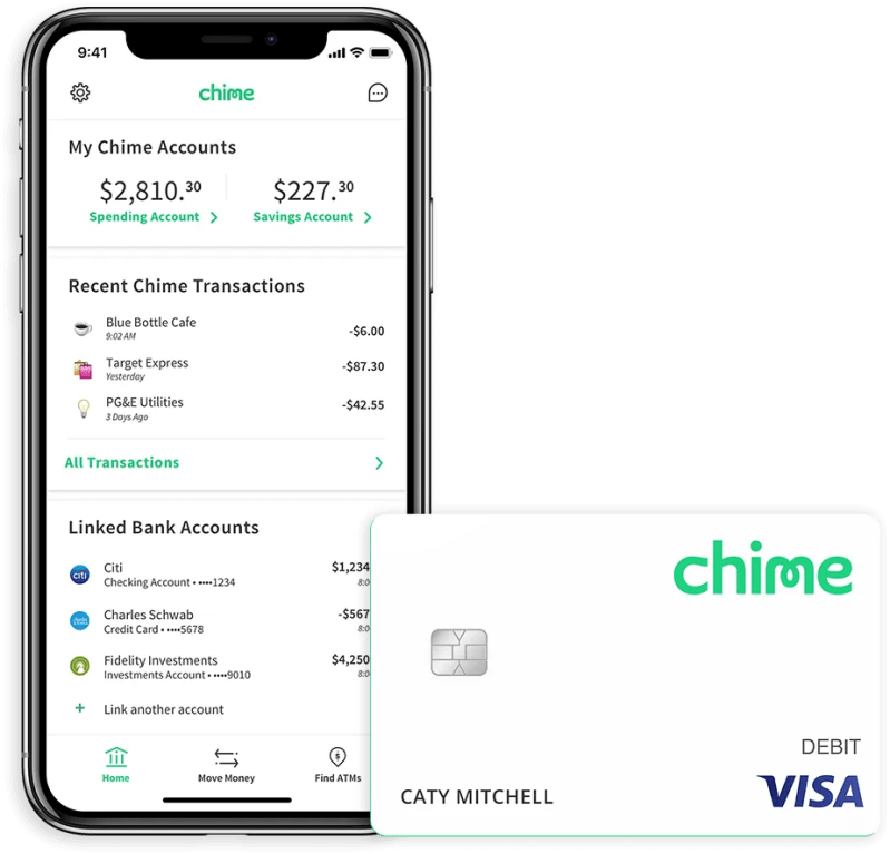 Chime mobile app with Chime Visa debit card