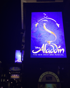 Billboard outside Aladdin's theatre - Photo by: Anna Luisa Van Haute