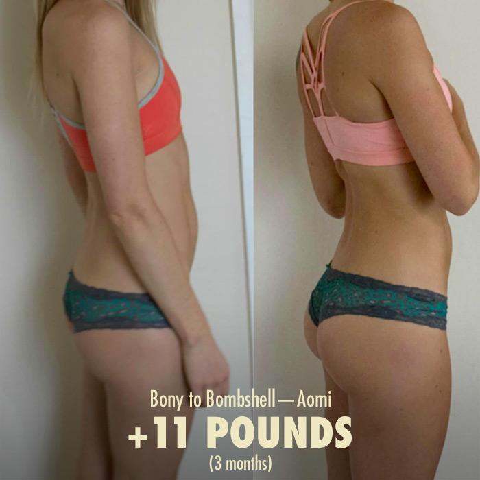 Women's weight gain transformation
