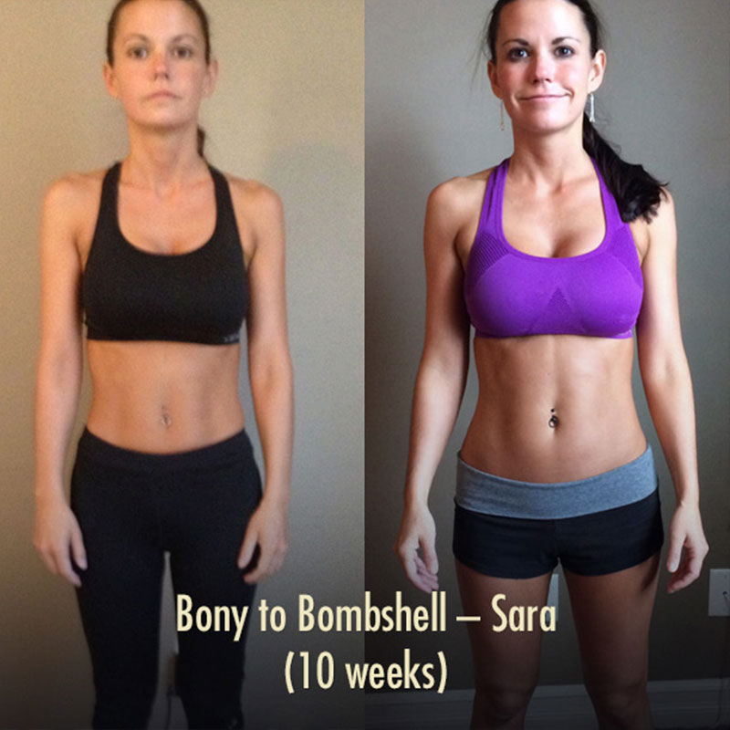 Before and after photo of a woman's muscle-building results.