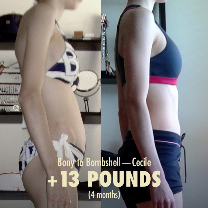 Before and after photo of a woman's weight gain transformation