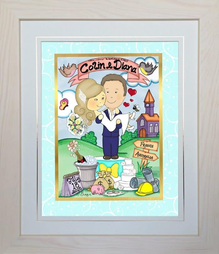 Personalised Wedding Gift – Mr & Mrs Toon cream frame example