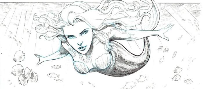Esquisse du comics La Petite Sirène