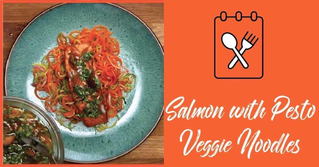Salmon with Pesto Veggie Noodles