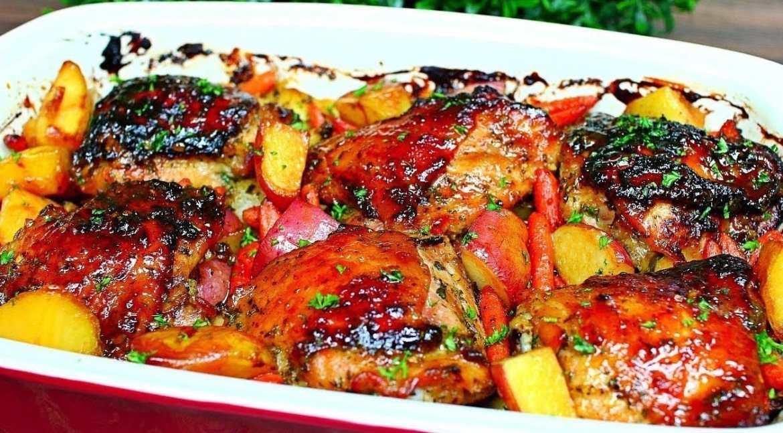 Honey Garlic Butter Chicken and Potatoes Recipe