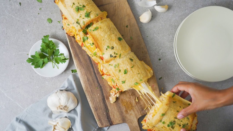 Chicken Mayo Garlic Bread Roll Up