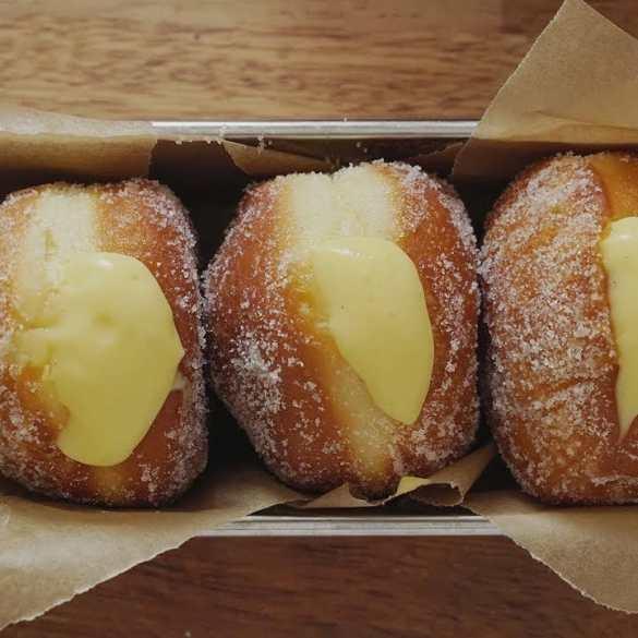 Vanilla custard cream filled doughnut