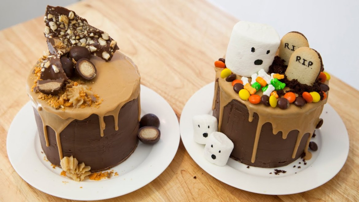 peanut butter and chocolate drip cake