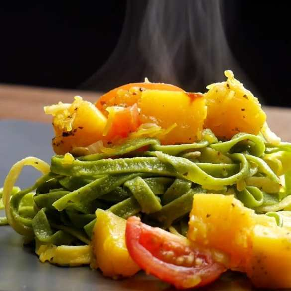 Vegan Spinach Tagliatelle with Pumpkin and Cherry Tomatoes