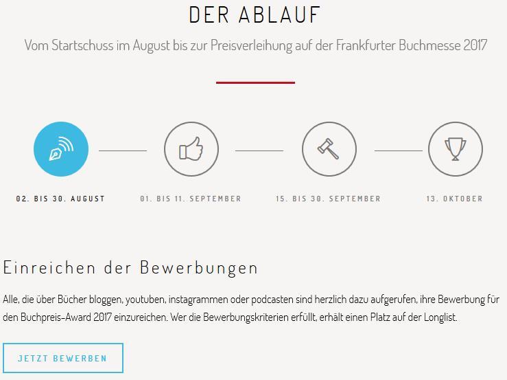 Buchblog-Award 2017 - Ablauf (Screenshot der Homepage)