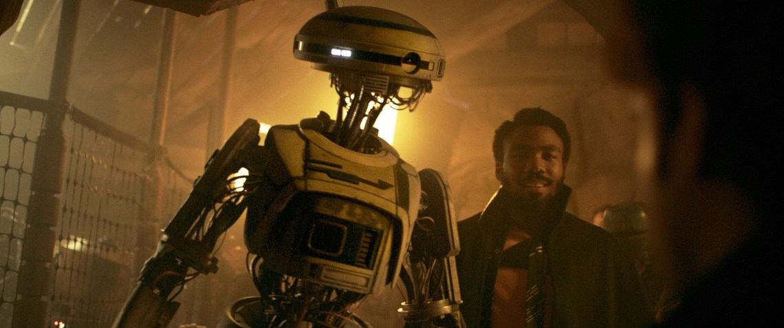 Donald Glover is Lando Calrissian and Phoebe Waller-Bridge is L3-37 in SOLO: A STAR WARS STORY. 2018 (c) Lucasfilm Ltd. & TM, All Rights Reserved.