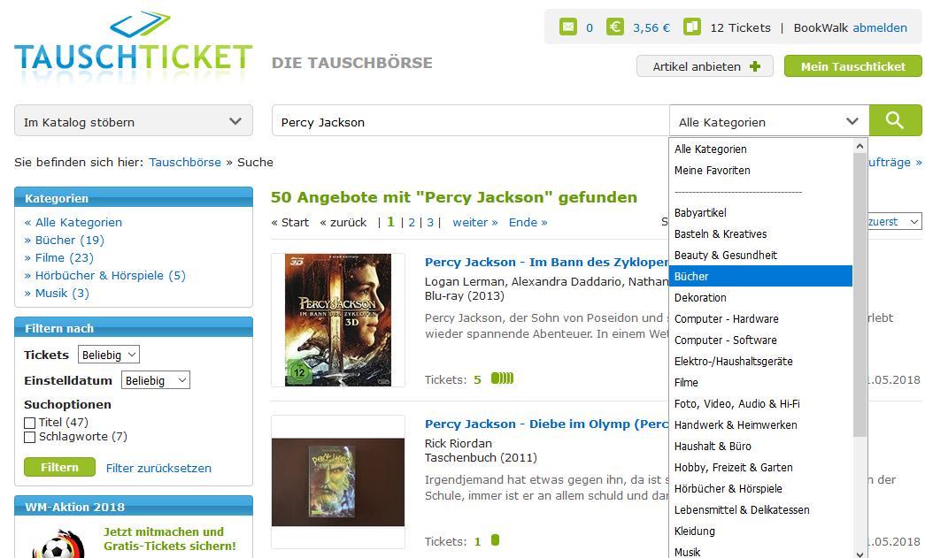 Percy Jackson Suche. Schreenshot von Tauschticket.de