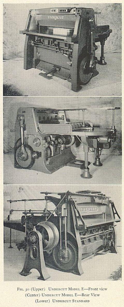 FIG. 30 (Upper) UNDERCUT MODEL E—Front view (Center) UNDERCUT MODEL E—Rear View (Lower) UNDERCUT STANDARD