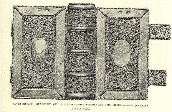 silver binding with niello border