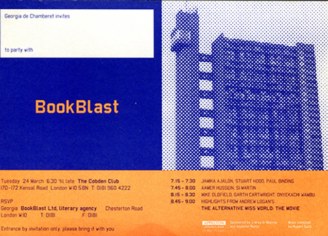 bookblast launch invitation 1997
